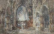 Wyke Bayliss Ely Cathedral pen and watercolour oil painting