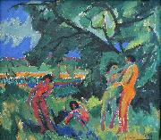 Ernst Ludwig Kirchner Naked Playing People oil painting