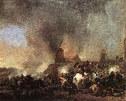 Philips Wouwerman Cavalry Battle in front of a Burning Mill by Philip Wouwerman oil painting