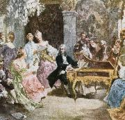 wolfgang amadeus mozart a romantic impression depicting handel making music at the keyboard with his friends. oil painting