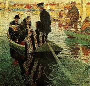 Carl Wilhelmson kyrkfolk i bat oil painting reproduction