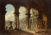 Hubert Robert Ancient Ruins Used as Public Baths oil painting
