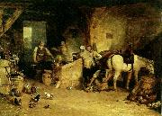J.M.W.Turner a country blacksmith disputing upon the price of i ron and the price charged to the butcher for shoeing his poney oil painting