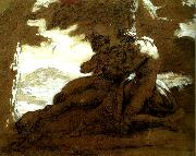 Theodore   Gericault nymphe et satyre oil painting reproduction