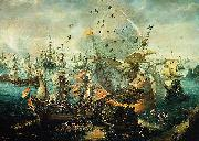 WIERINGEN, Cornelis Claesz van explosion of the Spanish flagship during the Battle of Gibraltar oil painting reproduction