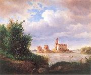 Wojciech Gerson Castle ruins in Trakai near Vilnius. oil painting
