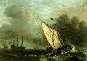 willem van de velde  the younger a rising gale oil painting