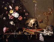 Adriaen Van Utrecht Vanitas - Still Life with Bouquet and Skull oil painting
