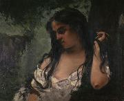 Gustave Courbet Gypsy in Reflection oil painting reproduction