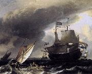 Ludolf Bakhuizen Dutch Vessels on the Sea at Amsterdam oil painting reproduction