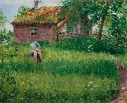 Olof Sager-Nelson Flicka pa blomsterang oil painting