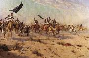 Robert Talbot Kelly The Flight of the Khalifa after his defeat at the battle of Omdurman oil painting