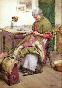 Walter Langley.RI The Old Quilt oil painting