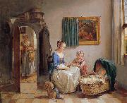 Willem van A family in an interior oil painting