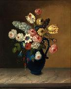 William Buelow Gould Still life, flowers in a blue jug oil on canvas painting by Van Diemonian (Tasmanian) artist and convict William Buelow Gould (1801 - 1853). oil painting