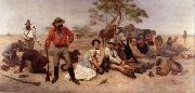 William Strutt Bushrangers, Victoria, Australia, oil painting