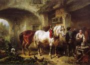 Wouterus Verschuur Horses and people in a courtyard oil painting