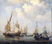 willem van de velde  the younger Ships in a calm oil painting