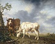 Jan Kobell Oxen in the meadow oil painting reproduction