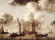 Jan van de Cappelle Dutch Yacht Firing a Salvo oil painting reproduction