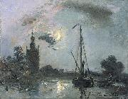 Johan Barthold Jongkind Overschie in the Moonlight oil painting reproduction