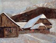 Otto Barth Farmhouse in winter oil painting