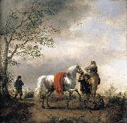 Philips Wouwerman Cavalier Holding a Dappled Grey Horse oil painting