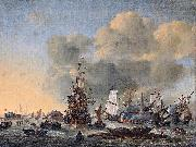 Reinier Nooms Caulking ships at the Bothuisje on the Y at Amsterdam oil painting