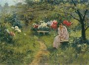Sergey Ivanovich Svetoslavsky In the Garden oil painting