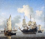 Willem Van de Velde The Younger Ships anchored offshore oil painting