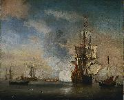 Willem Van de Velde The Younger English Warship Firing a Salute oil painting
