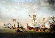 Willem van de Velde the Elder The Departure of William of Orange and Princess Mary for Holland oil painting