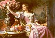 Wladyslaw Czachorski A lady in a lilac dress with flowers oil painting