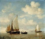 willem van de velde  the younger Dutch Smalschips and a Rowing Boat oil painting reproduction