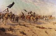 Robert Talbot Kelly The Flight of the Khalifa after his defeat at the battle of Omdurman, 2nd September 1898 oil painting