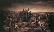 Soma Orlai Petrich Ms. Perenyi Gathering the Dead after the Battle at Mohacs oil painting