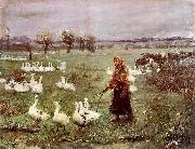 Teodor Axentowicz The Goose Girl. oil painting