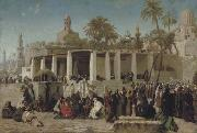 Wilhelm Gentz Crowds Gathering before the Tombs of the Caliphs, Cairo oil painting