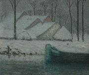 William Degouwe de Nuncques Snowy landscape with barge oil painting
