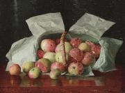 William J. McCloskey Lady Apples in Overturned Basket. Signed W.J. McCloskey oil painting