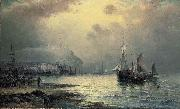 William J.Glackens Fishing vessels off Scarborough at dusk oil painting