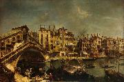 Workshop of Michele Marieschi The Rialto Bridge from the Riva del Vin oil painting