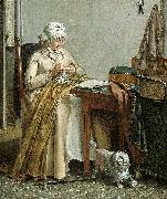 Wybrand Hendriks Interior with sewing woman. oil painting