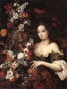 Gaspar Peeter Verbrugghen the younger A still life of various flowers with a young lady beside an urn oil painting