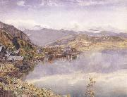 John William Inchbold The Lake of Lucerne,Mont Pilatus in the Distance oil painting
