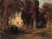 Oswald achenbach Monastery Garden oil painting