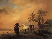 Philips Wouwerman Horses Being Watered oil painting