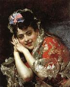 Raimundo de Madrazo y Garreta The Model Aline Masson with a White Mantilla oil painting