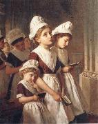 Sophie anderson Foundling Girls in their School Dresses at Prayer in the Chapel oil painting