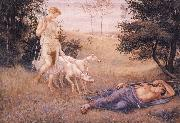 Walter Crane Diana and Endymion oil painting
